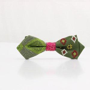 【mens】 刺繍の蝶ネクタイ ネイティブスクエア 松葉 AGEHA tie