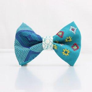 【mens】 刺繍の蝶ネクタイ ネイティブスクエア あさぎ TATEHA tie