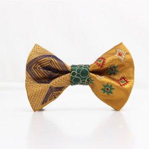 【mens】 刺繍の蝶ネクタイ ネイティブスクエア 琥珀 TATEHA tie