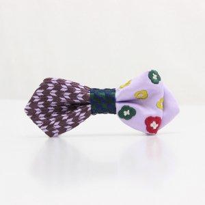 【kids】 刺繍の蝶ネクタイ 恋する和の文様 ふじ紫 AGEHA tie