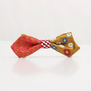 【mens】 刺繍の蝶ネクタイ 恋する和の文様 琥珀 AGEHA tie