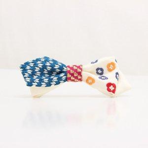 【mens】 刺繍の蝶ネクタイ 恋する和の文様 月白 AGEHA tie