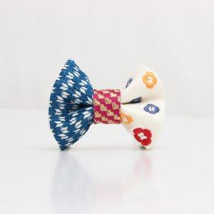 【kids】 刺繍の蝶ネクタイ 恋する和の文様 月白 TATEHA tie