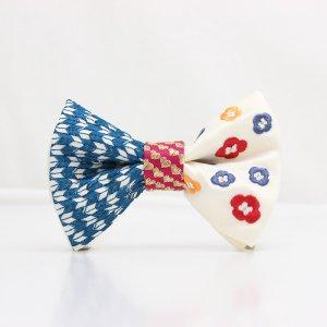 【mens】 刺繍の蝶ネクタイ 恋する和の文様 月白 TATEHA tie