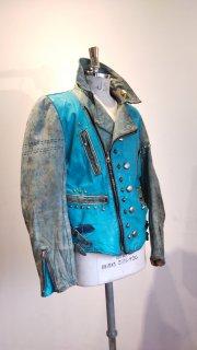 "NEON CUSTOM EDITION Leather Jacket ""CRAZY BLUE"""