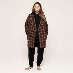 """NOWHAW """"futon"""" gown plaid #dark brown"""