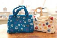フェアトレード・ミラー刺繍 ちびバッグ(インド) 白・ターコイズ