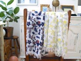 フェアトレード・オーガニックコットンお花木版プリント手織りストール