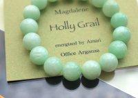 エナジャイズド「マグダレン・ホーリーグレイル」グリーンムーンストーン12mm玉ブレス(内径 16.5cm)