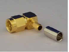 SMAP-LP-2.5A 2.5D 圧着タイプ  同軸ケーブル SMA型オス・コネクター L型プラグ
