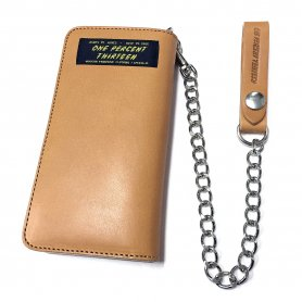 1% Authentic Leather Long Wallet & Wallet Chain Set
