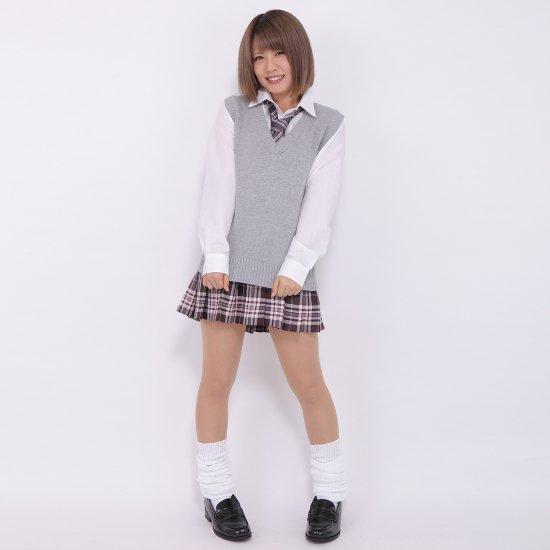 プリーツスカート (ブラウン×ピンク) NEW 全21種類 正規品 JK制服 スクールスカート メール便 送料無料【画像5】
