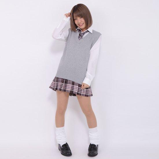 プリーツスカート (ブラウン×ピンク) NEW 全21種類 正規品 JK制服 スクールスカート メール便 送料無料【画像6】