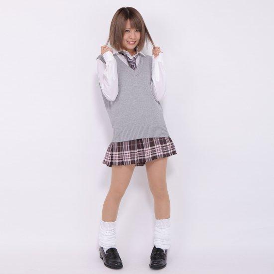 プリーツスカート (ブラウン×ピンク) NEW 全20種類 正規品 JK制服 スクールスカート メール便 送料無料【画像7】