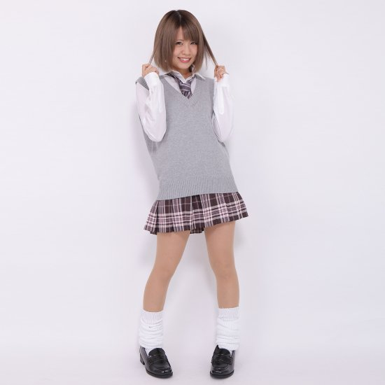 プリーツスカート (ブラウン×ピンク) NEW 全21種類 正規品 JK制服 スクールスカート メール便 送料無料【画像7】