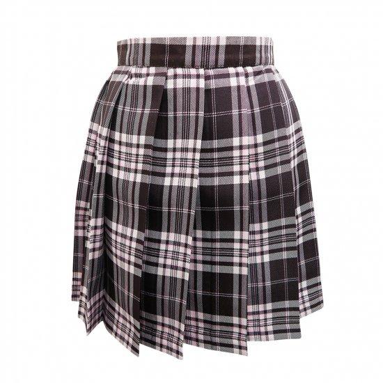プリーツスカート (ブラウン×ピンク) NEW 全21種類 正規品 JK制服 スクールスカート メール便 送料無料【画像8】