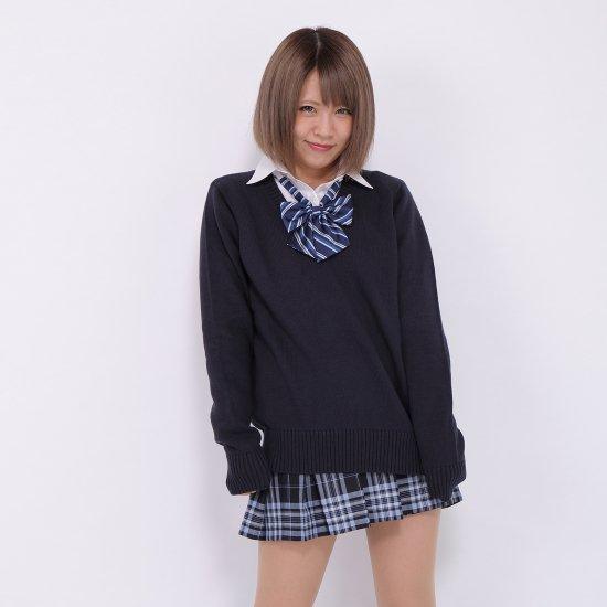 スクール リボン 女子高生 (ネイビー × ブルー & ホワイトストライプ )新柄 全17種類 正規品 JK制服 メール便 送料無料【画像6】