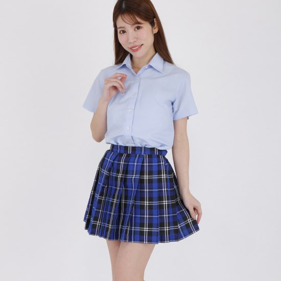 プリーツスカート (ブルーチェック) 全21種類 正規品 JK制服 スクールスカート メール便 送料無料【画像2】