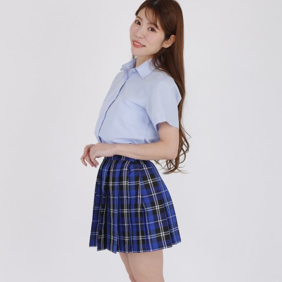 プリーツスカート (ブルーチェック) 全21種類 正規品 JK制服 スクールスカート メール便 送料無料【画像4】