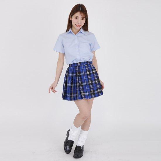 プリーツスカート (ブルーチェック) 全21種類 正規品 JK制服 スクールスカート メール便 送料無料【画像5】
