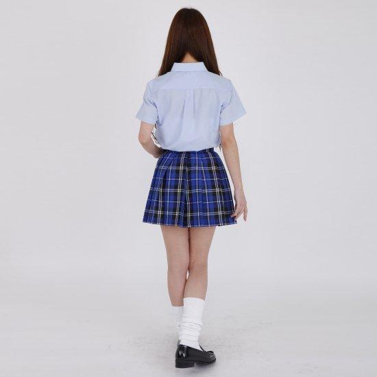 プリーツスカート (ブルーチェック) 全21種類 正規品 JK制服 スクールスカート メール便 送料無料【画像6】