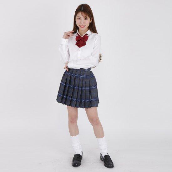 プリーツスカート ( チャコール グレー × ブルーチェック ) NEW 全20種類 正規品 JK制服 スクール スカート メール便 送料無料【画像7】