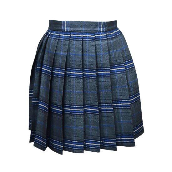 プリーツスカート ( チャコール グレー × ブルーチェック ) NEW 全21種類 正規品 JK制服 スクール スカート メール便 送料無料【画像8】