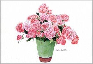 ポストカード「緑色の壷のピンクのバラ」.abc