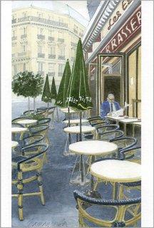 ポストカード「朝一番のカフェの客」.abc