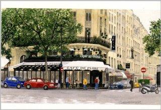 ポストカード「新緑のカフェ・ド・フロール」.abc