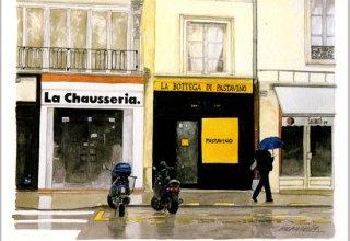 ポストカード「雨の朝、まだ店は開いていない」.abc