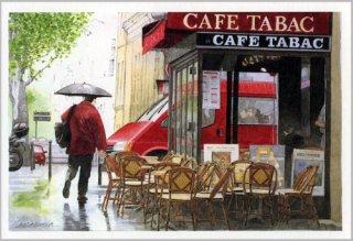 ポストカード「雨の日の赤いカフェ」.abc