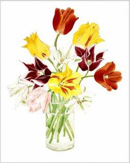 版画 「ガラス花瓶のチューリップ」.abc