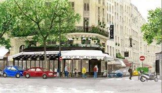 版画 「新緑のカフェ・ド・フロール」.abc