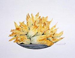 版画 「皿の上のズッキーニの花」.abc