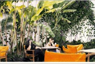ポストカード「黄色い椅子のある中庭」.abc