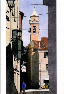 ポストカード「鐘楼の見える裏通り」.abc