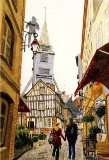 ポストカード「古い教会のある散歩道」.abc