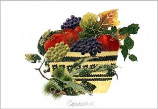 ポストカード「秋の果物籠」.abc
