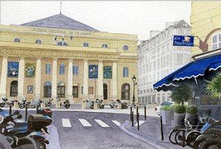 版画 「オデオン座と青い地中海レストラン2019」.abc