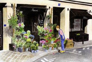 ポストカード「フリュスタンベール広場の花屋さん」.abc