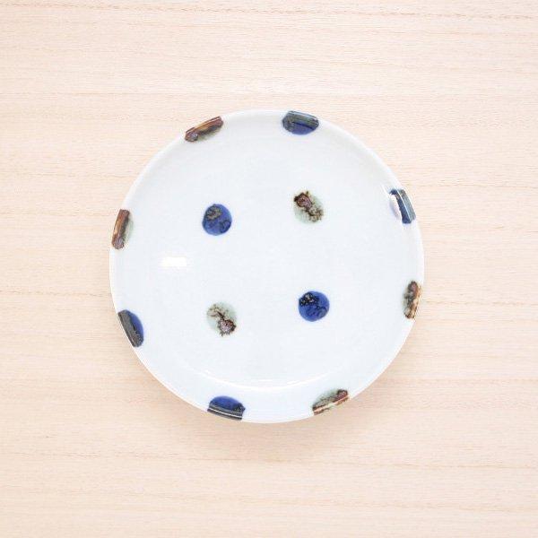砥部焼・五松園窯 − 4寸皿 鉄水玉
