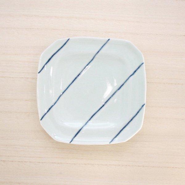 砥部焼・梅乃瀬窯 − 角皿 5寸 象嵌 ナナメ