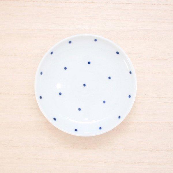 砥部焼・五松園窯 − 4寸皿 水玉