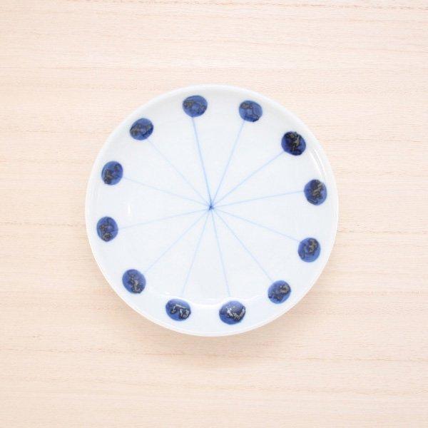 砥部焼・五松園窯 − 4寸皿 丸と線