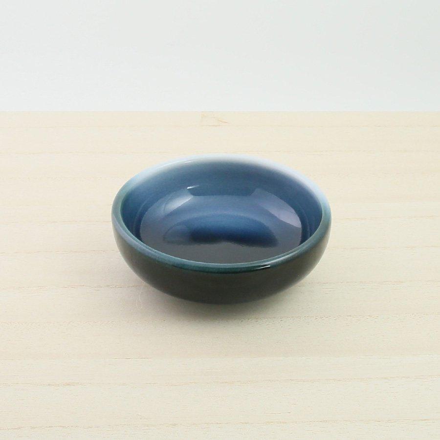 砥部焼・ヨシュア工房 − まめ鉢 内青