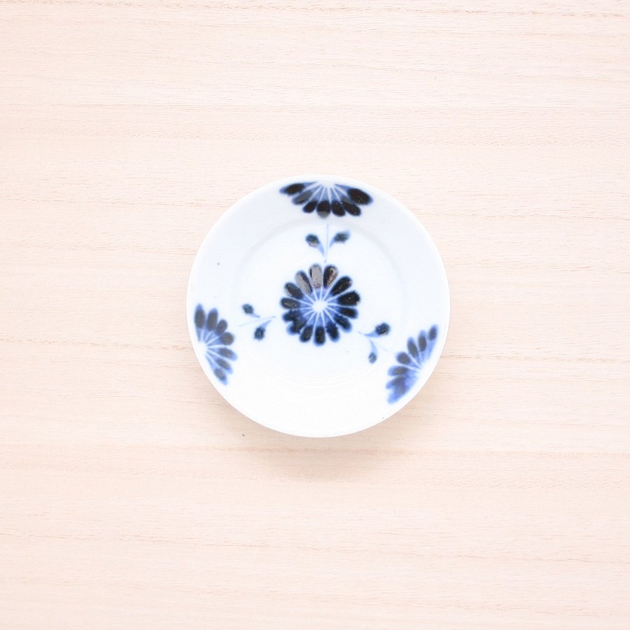 砥部焼・陶房 遊 − 豆々皿 菊つなぎ[新規格]