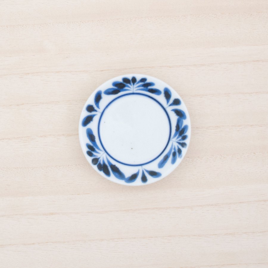 砥部焼・陶房 遊 − 豆々皿 ブルーリーフ[新規格]