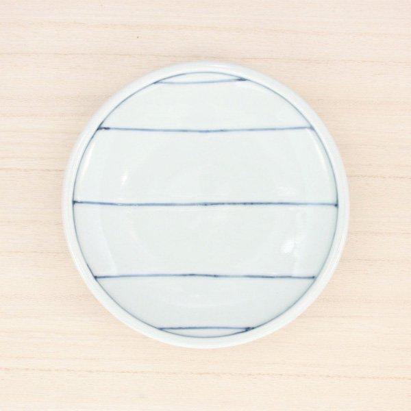 砥部焼・梅乃瀬窯 − 玉縁皿 5寸 五本線