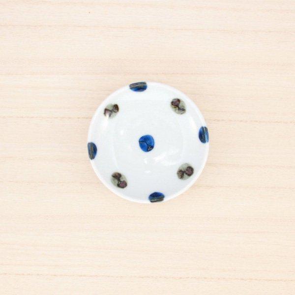砥部焼・五松園窯 − 豆皿 鉄水玉